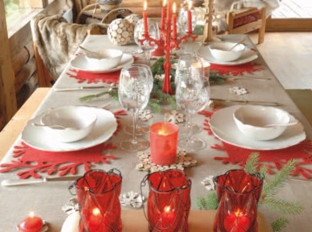 """Table de fêtes """"rouge et blanche"""""""