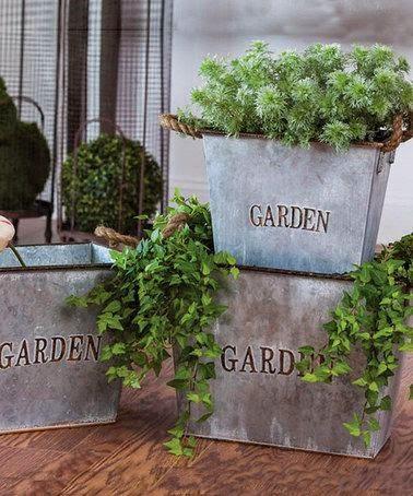 silver bucket planter