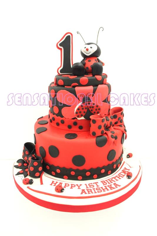The Sensational Cakes Ladybug Theme 1st Year 3 Tie Cake Singapore