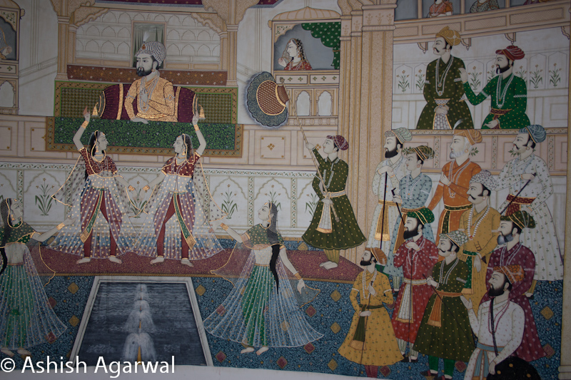 Painting on the wall inside the Gold Palace Resort near Jaipur, depicting scenes from the Mughals