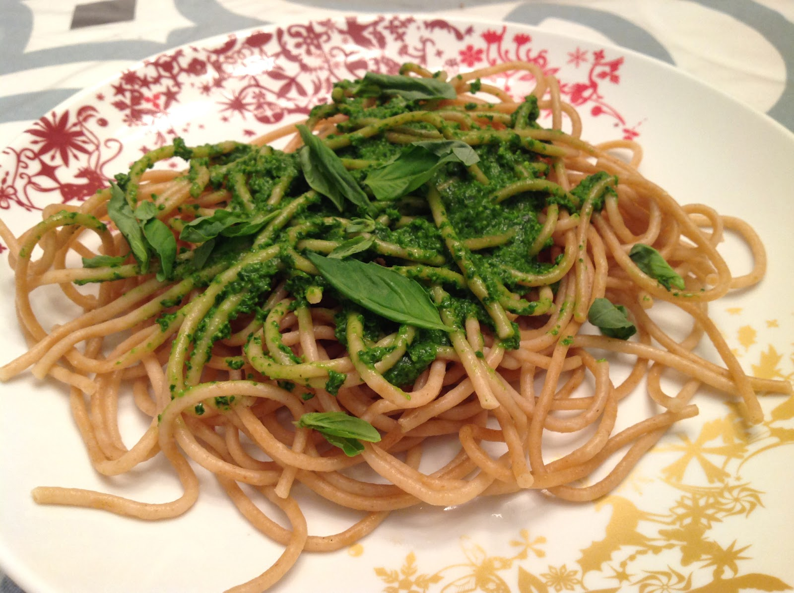 my back pages: whole wheat pasta with lighter pesto