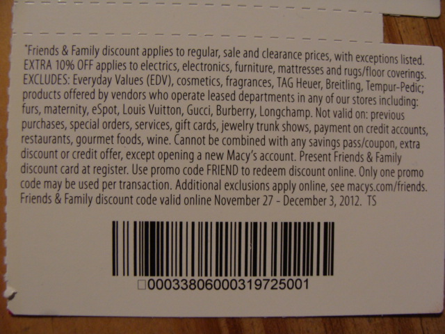 25 friends and family macys coupon