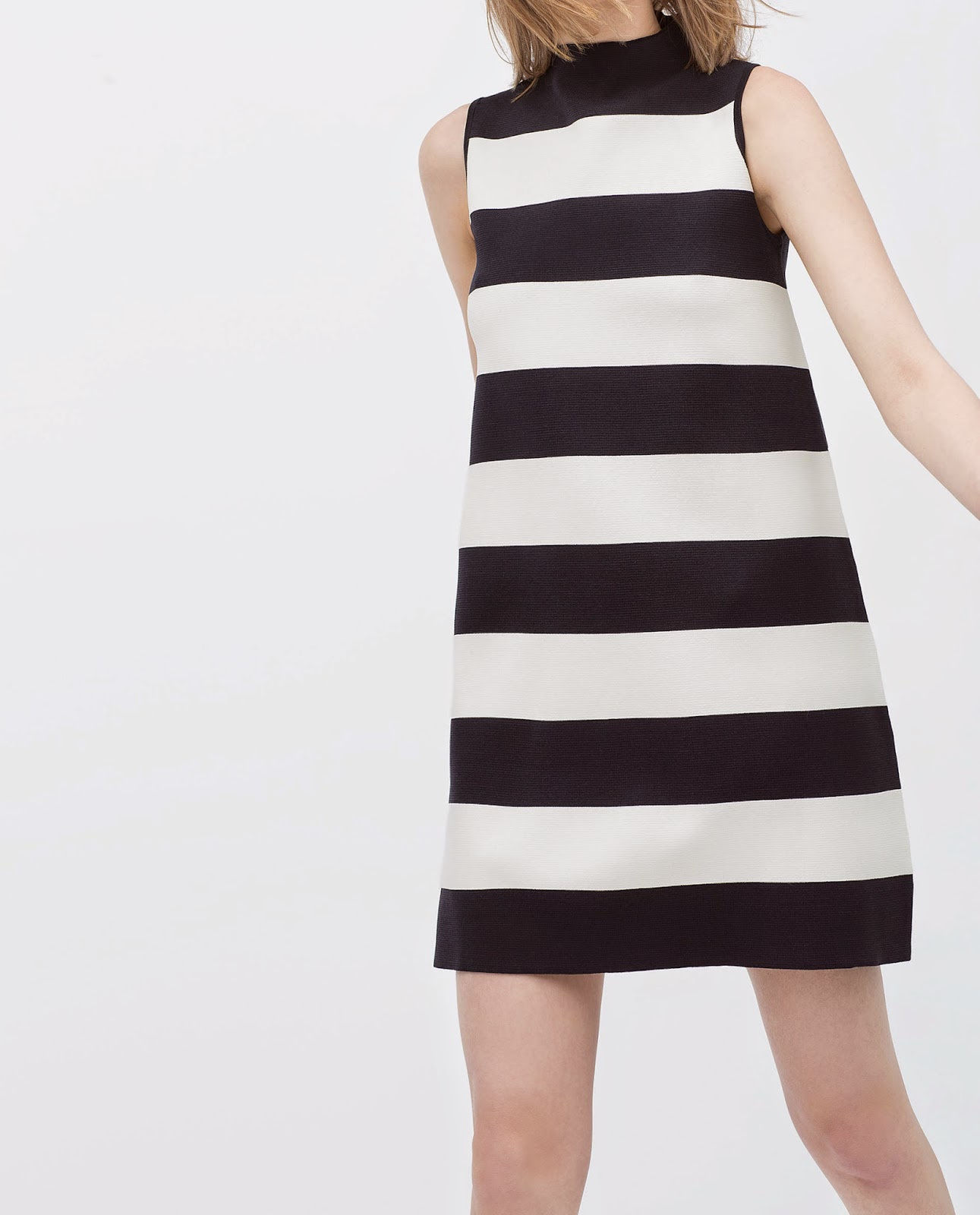 zara striped high neck dress