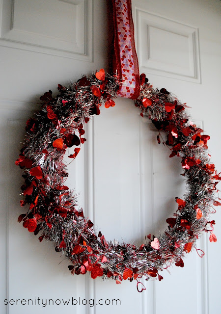 Valentine Tinsel Garland Wreath, from Serenity Now