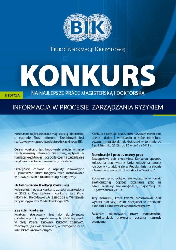 """Plakat konkursu """"Informacja w procesie zarządzania ryzykiem"""""""