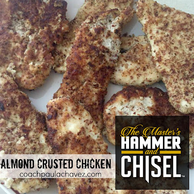 paleo chicken, almond meal, clean eating, hammer and chisel, paula chavez, breaded chicken, recipes