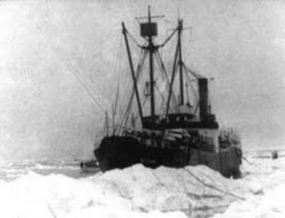 SS Baychimo, legendary ghost ship of the Arctic caught in an ice pack