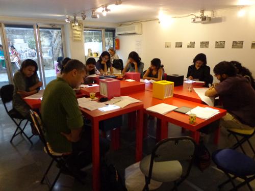 Workshop in process at Mumbai Art Room, Mumbai