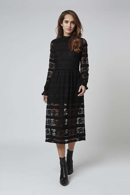 motel black lace dress, long sleeve sheer black midi dress,
