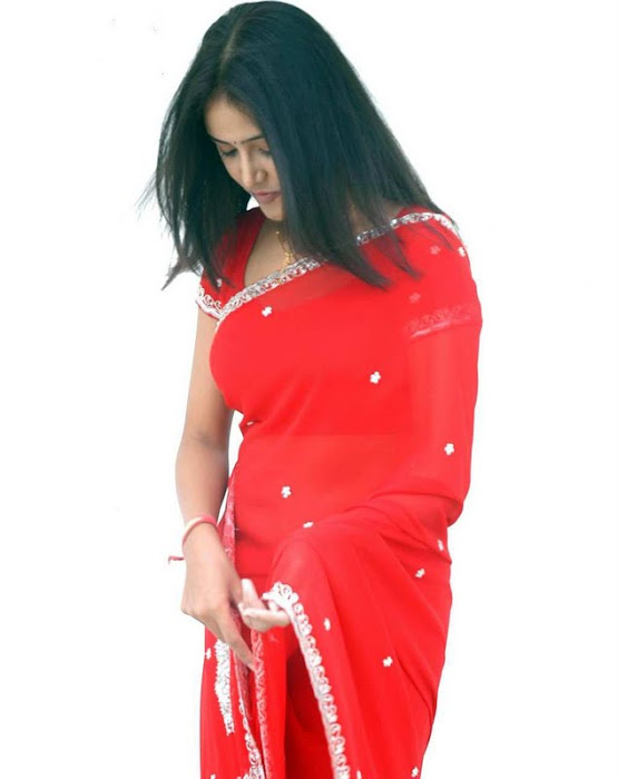 sony charishta red saree latest photos
