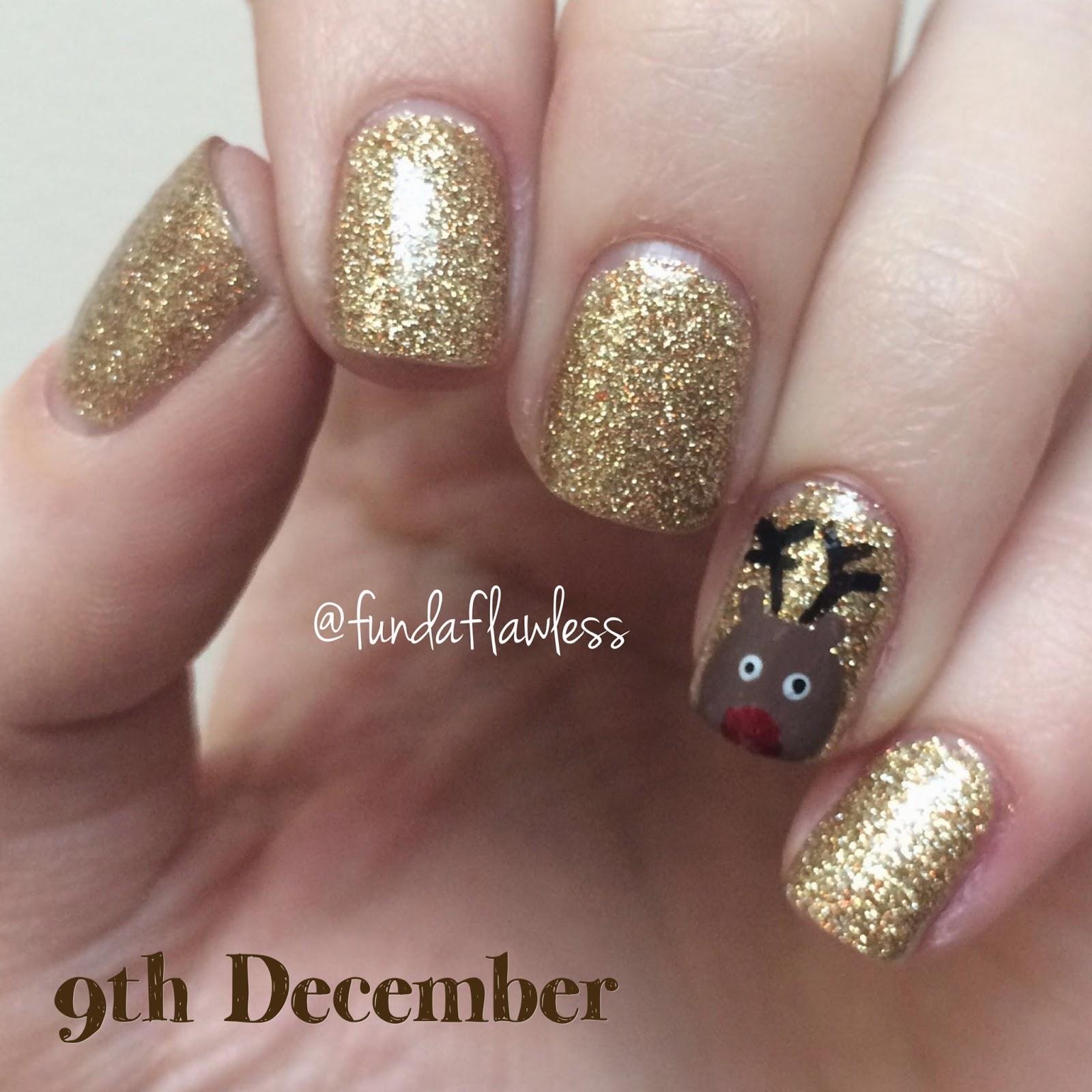 Gold Glitter and Reindeer Nail Art