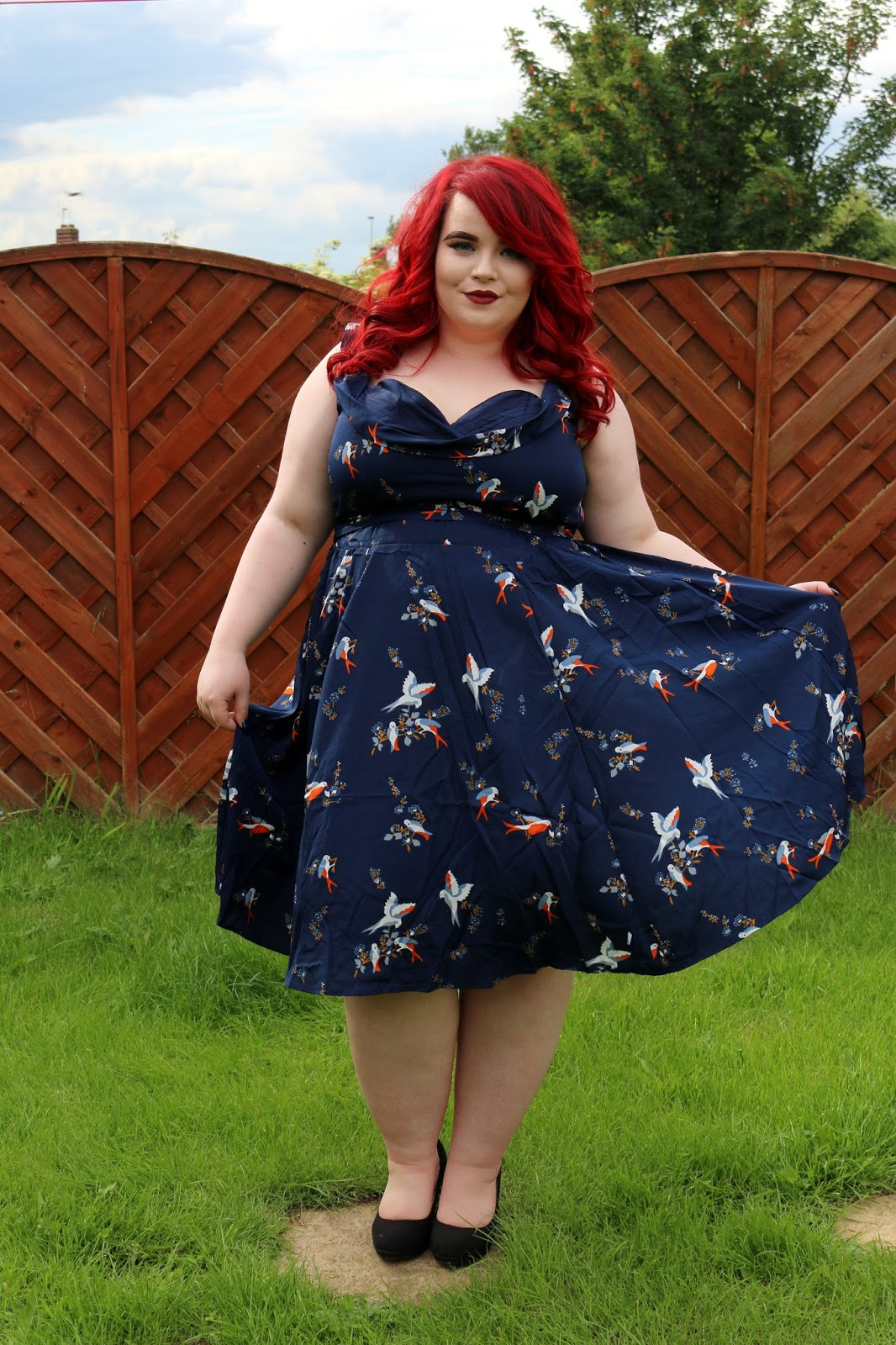 BBW Couture Plus Size Navy Blue Swallow