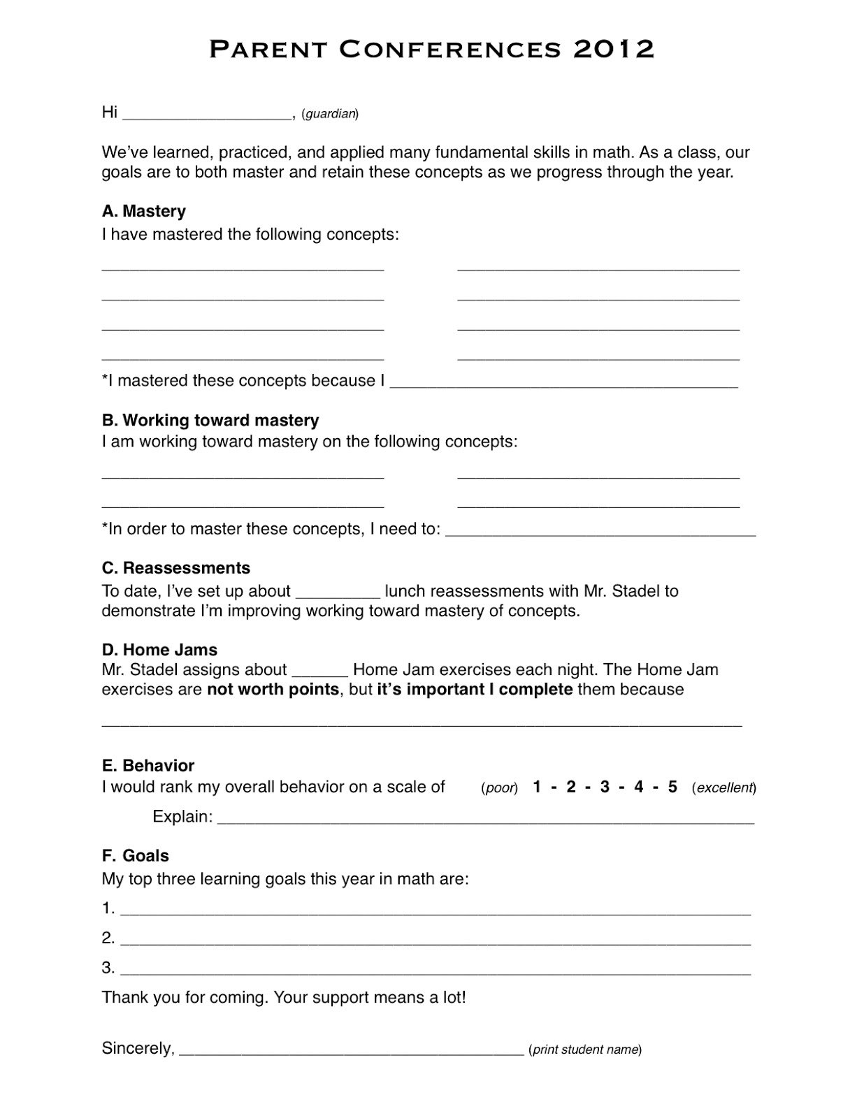 talking points template word