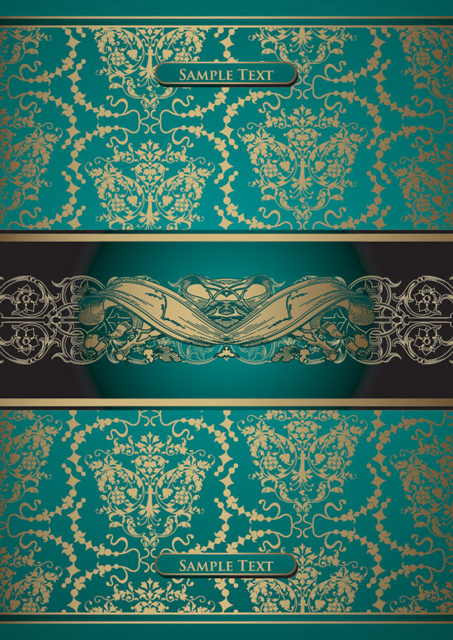 金のレース飾りが豪華な背景 european gorgeous gold lace pattern イラスト素材2