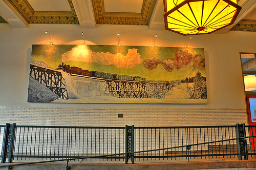 Mural in Tunnel, Showing Snow Removal Train on Trestle