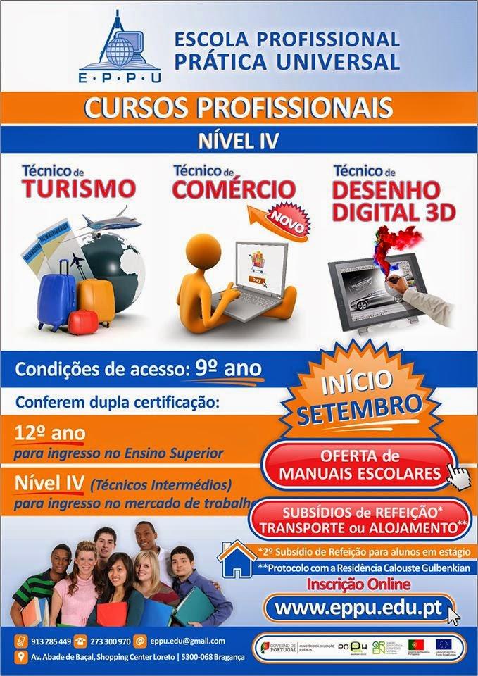 Cursos Profissionais Nível IV em Bragança (2014) – Equivalência ao 12º ano de escolaridade