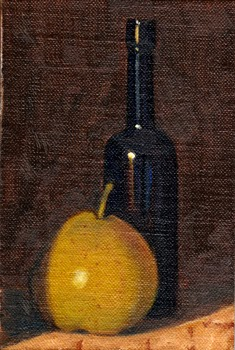 Oil painting of a nashi pear beside a blue castor oil bottle.