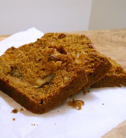 Double Pumpkin Walnut Bread with Maple Glaze