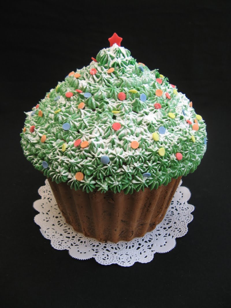 Christmas Giant Cupcake Decoration Design With Green Color Red X Mas