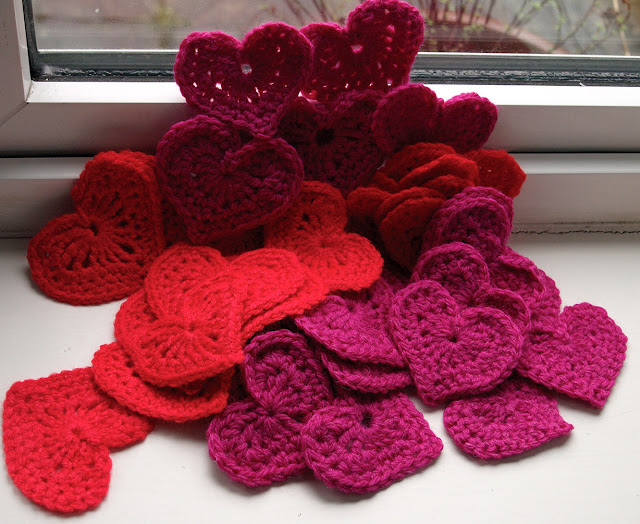 lots of crochet hearts