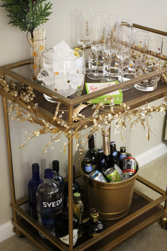 threshold bar cart update, bar cart at home, interior design with bar cart, kate spade drinkware
