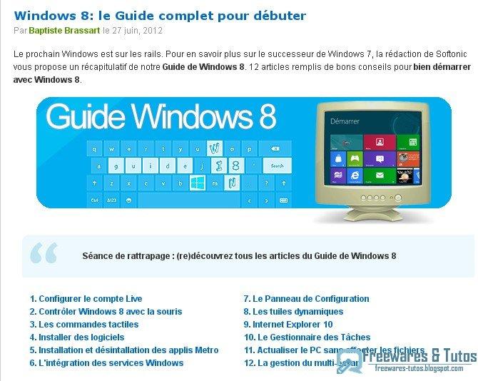 Le site du jour : Guide complet pour bien débuter avec Windows 8