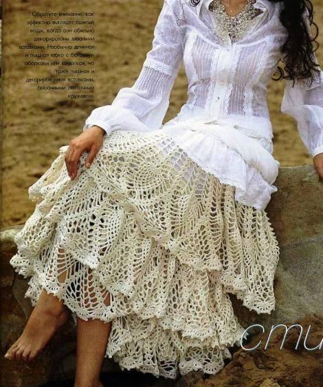 falda con vuelos tejida a crochet