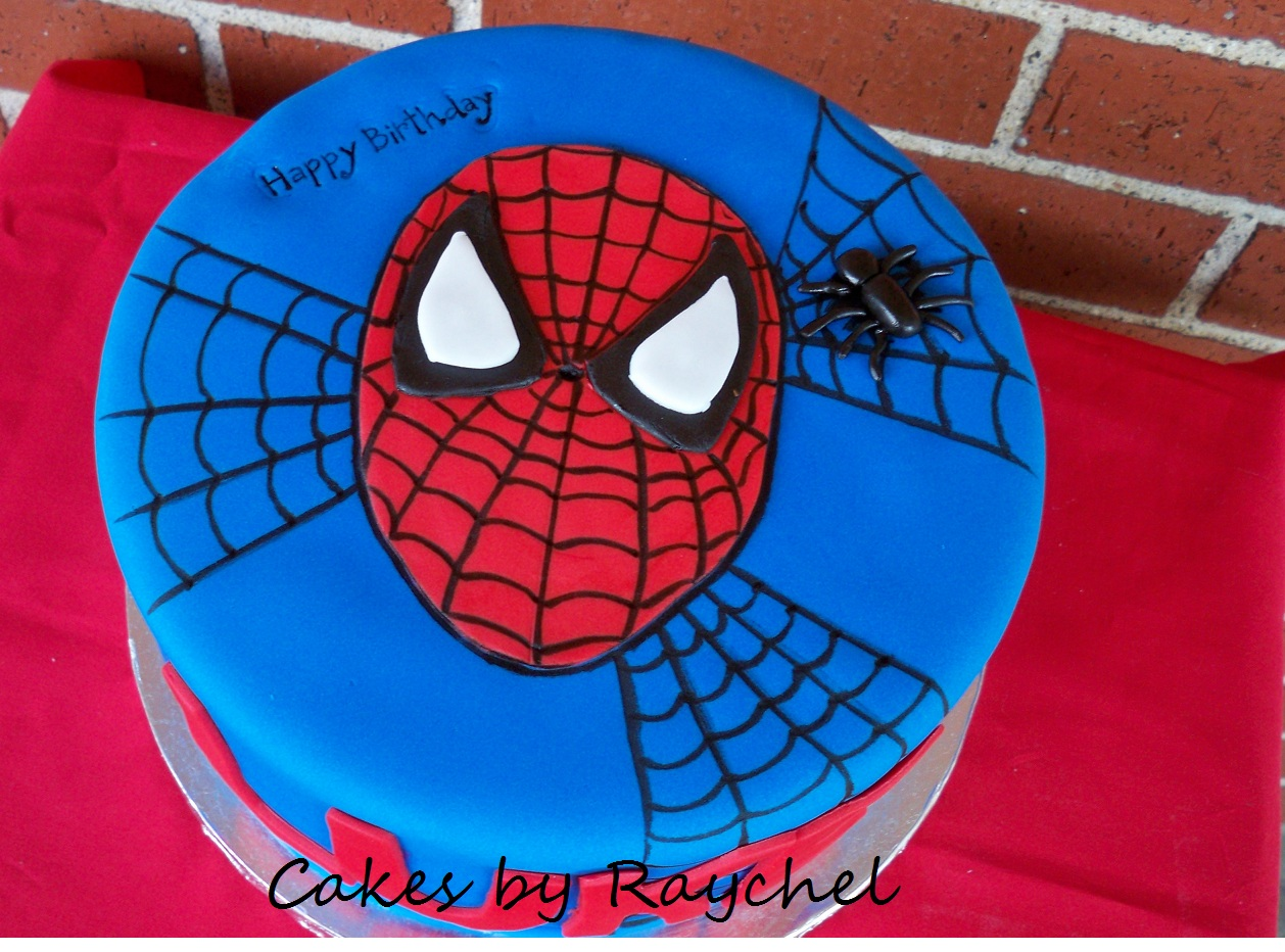 Spiderman Face Cake Design : My Creative Way: 1 tier Spiderman Cake. Red & Blue with ...