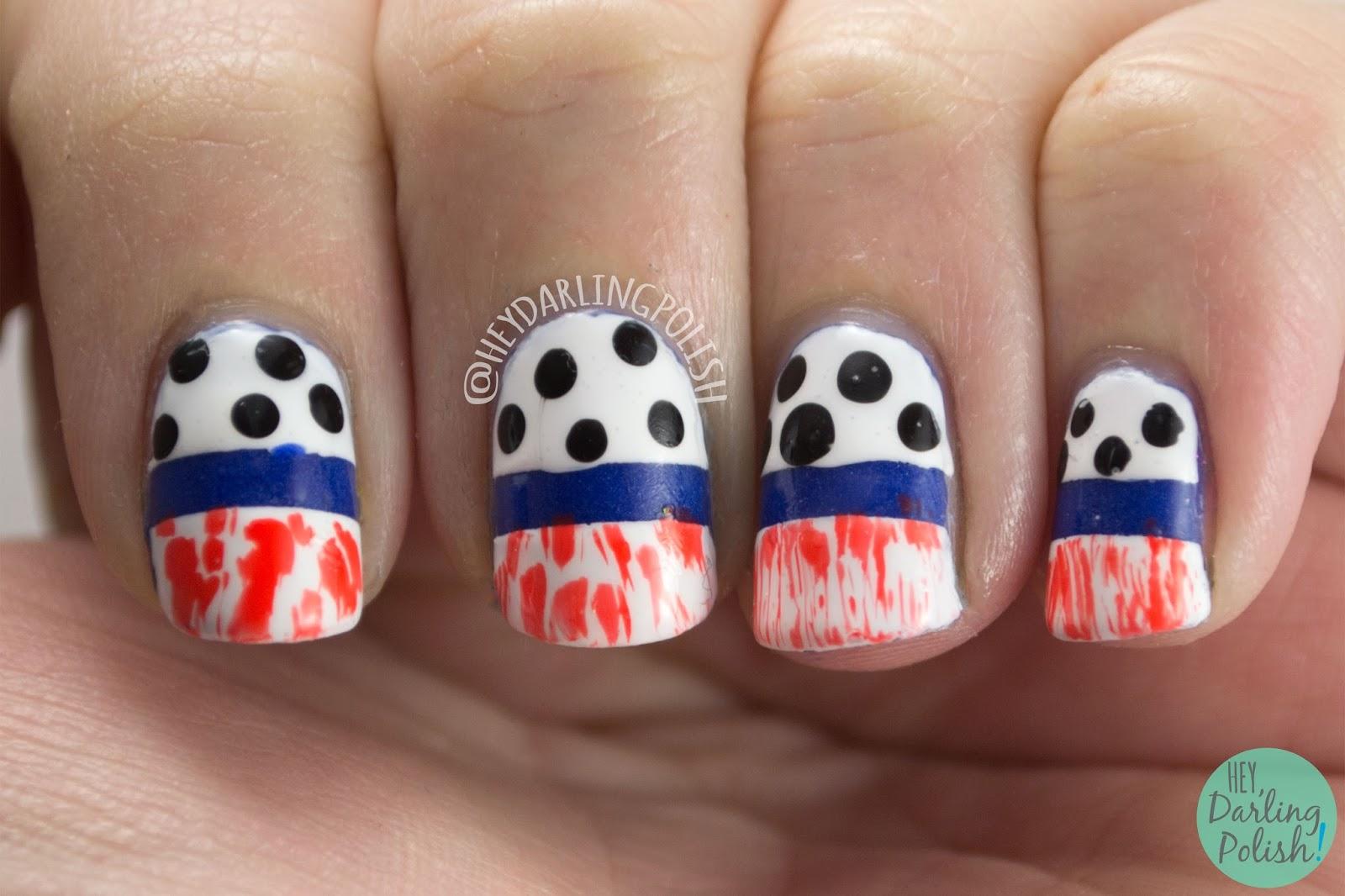 nails, nail art, nail polish, hey darling polish, fashion, polka dots, distressed, orange, white, blue, the nail challenge collaborative