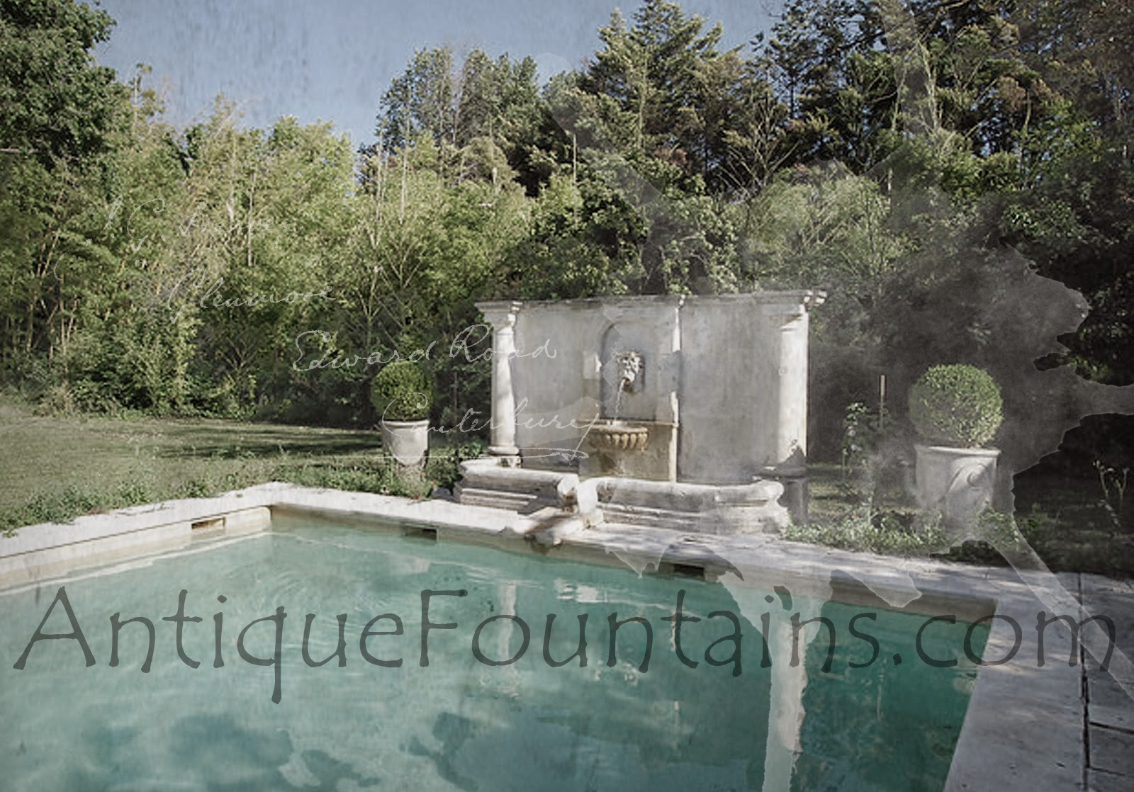 An Outdoor Antique Jacuzzi-Pool fountain in Provence France.