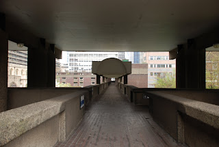 concrete walkways in the Barbican Estate, London - Chamberlin, Powell and Bon