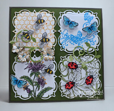Our Daily Bread Designs, Honeycomb background, Butterfly and Bugs, Three Butterflies, Bee Balm, Leaves Background, Butterfly and Bugs dies, Layered Lacey Squares, Fancy Foliage, Birds and Nest, Designed by Elizabeth Whisson