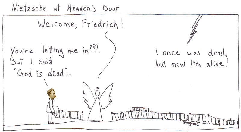 Nietzsche at heaven's door. Cartoon by rob g