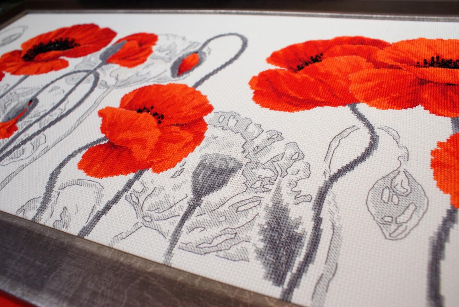 Вышивка алые маки фирмы риолис 4