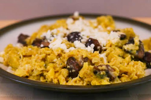 Scrambled Eggs with Mushrooms and Feta found on KalynsKitchen.com