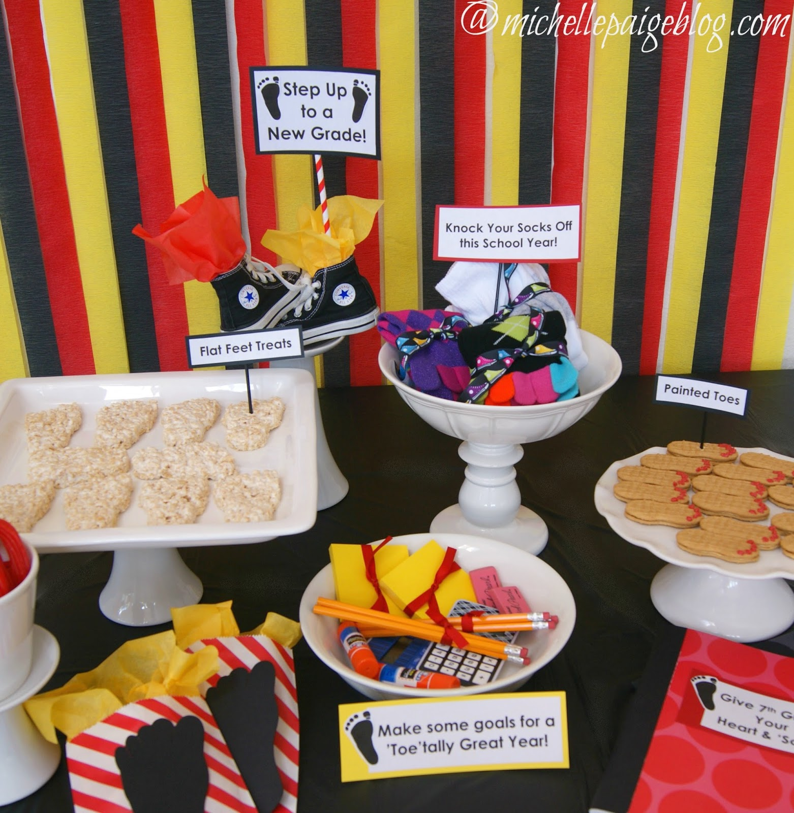 Michelle paige blogs foot themed back to school party for Back to school party decoration ideas