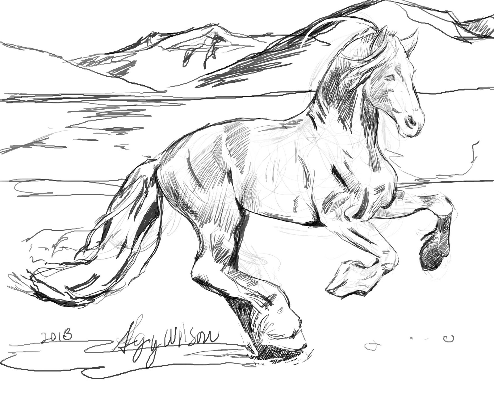 Running Horse Coloring Pages to Print For Kids