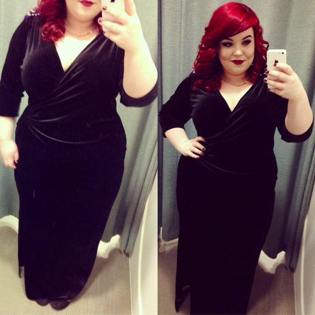 Scarlett & Jo Navy Embellished Velvet Dress, plus size blogger