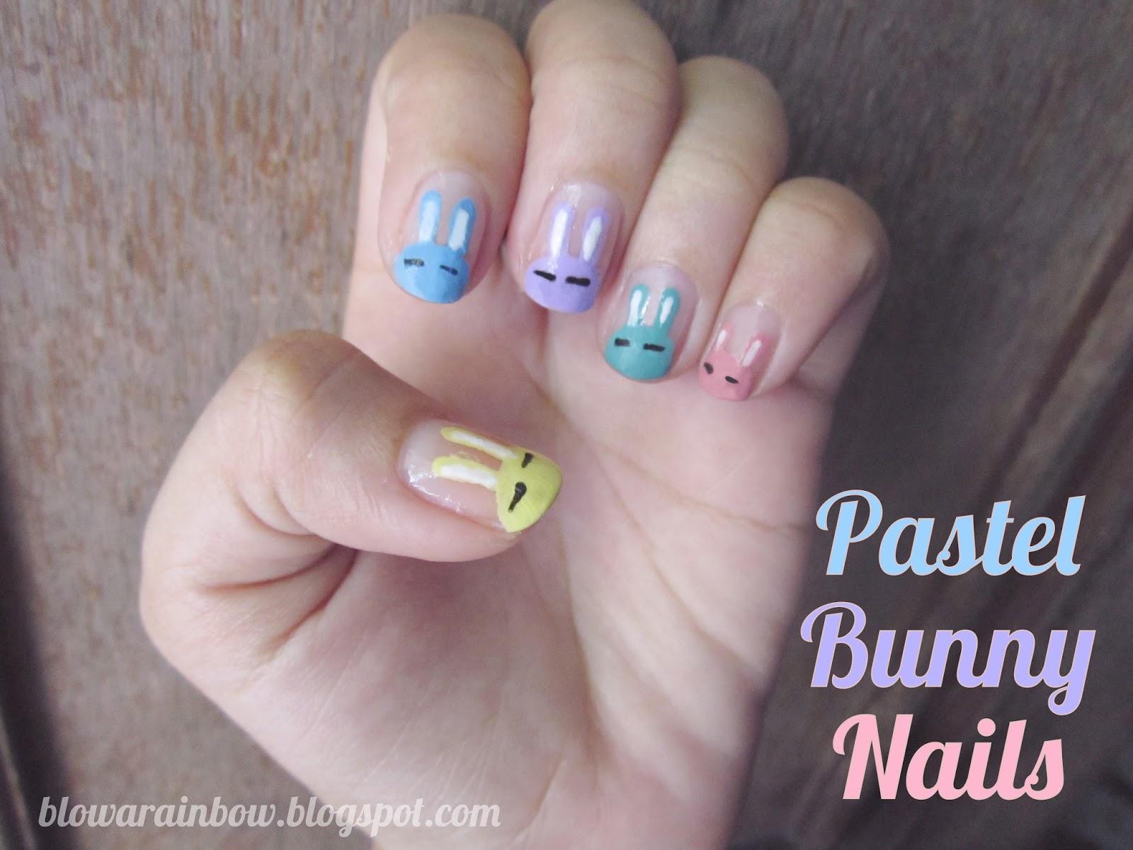 Blow A Rainbow Bunny Nails