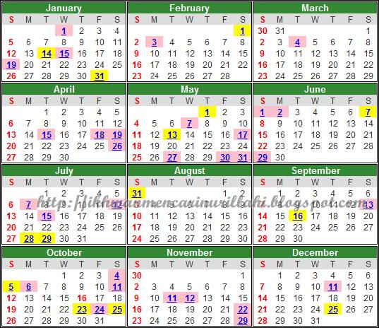 Kalendar Cuti Umum Dan Cuti Sekolah Malaysia 2014