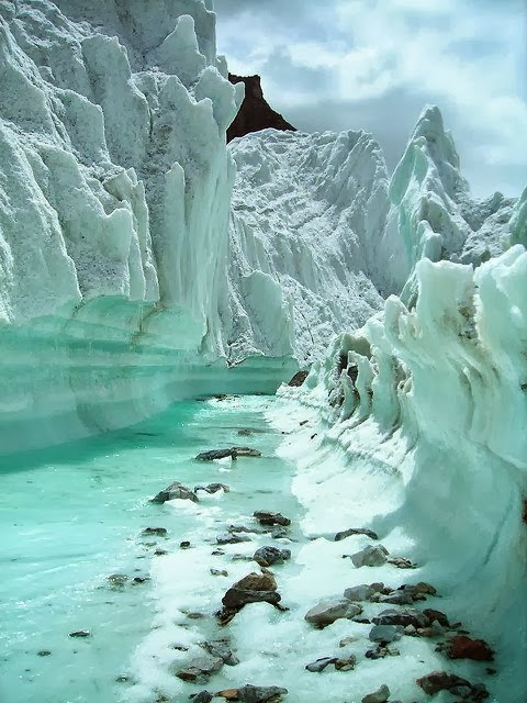Glacier stream on Karakoram Mountains, Northern Pakistan - 12 Stunning Photos of Places Decorated with the Most Beautiful Element Water in Solid State