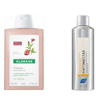 color-treated hair, shampoo for color-treated hair, Klorane Shampoo with Pomegranate, Phyto PHYTONECTAR Ultra Nourishing Brilliance Shampoo, color safe shampoo