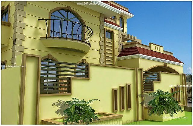 3d front pakistani house front elevation for Pakistani new home designs exterior views