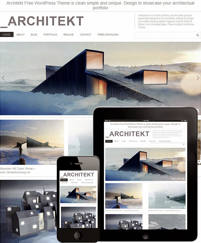 Download Architekt Theme - Free Wordpress Responsive Portfolio Theme 2015