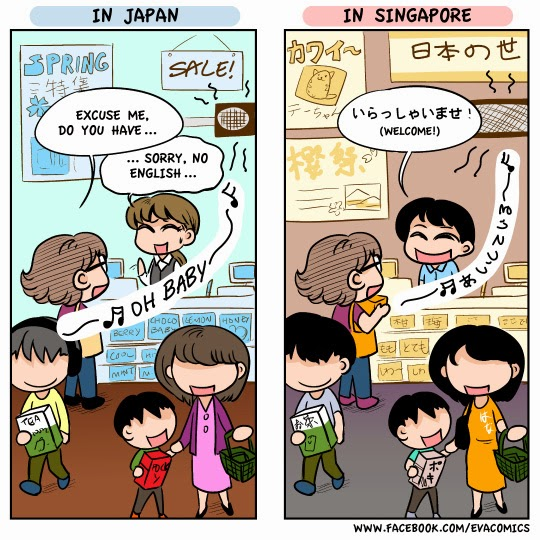 English in Japan and Japanese elsewhere