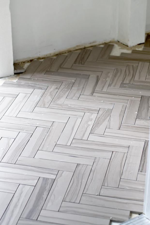 Sarah M Dorsey Designs Two Weekends Herringbone Tile