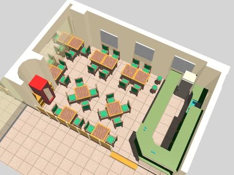 Arquitectura con identidad cafeteria en clinica privada - Mesas de arquitectura ...