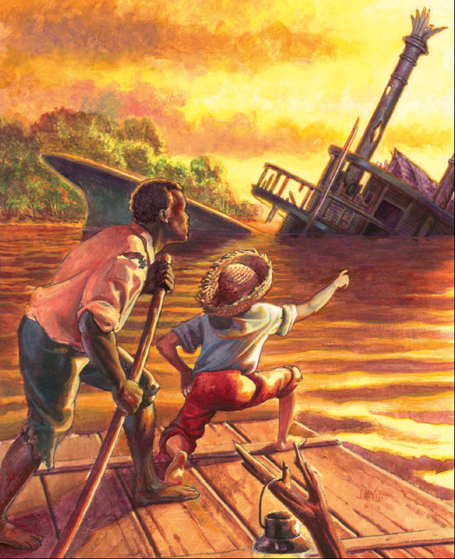 flawed characters in the adventures of huckleberry finn