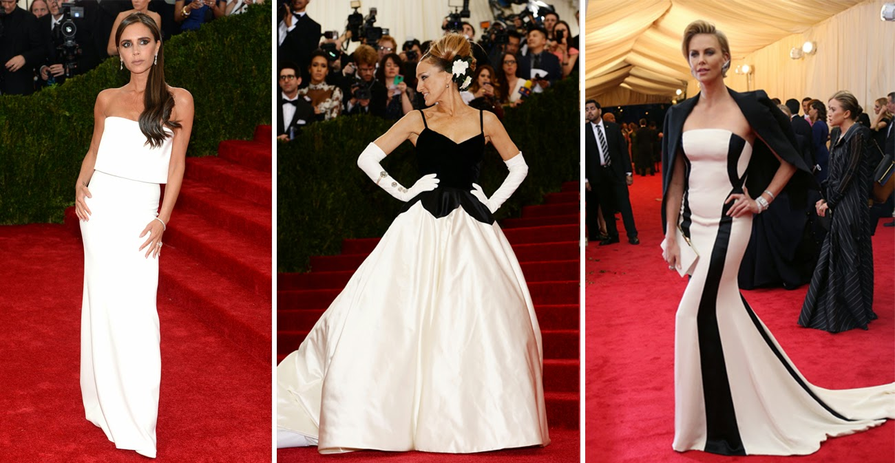 Met Gala 2014: Victoria Beckham in Victoria Beckham, Sarah Jessica Parker in Oscar De La Renta, Charlize Theron in Dior.