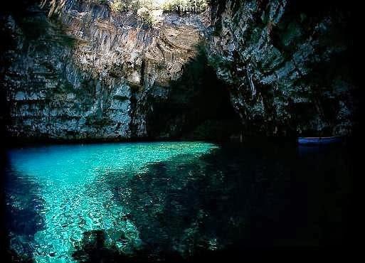 Mellisani lake - underground lake at Mellisani caves Kefalonia